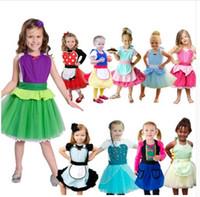 delantales vestidos al por mayor-Muchacha de los niños Delantal Vestido Cosplay Princesa Disfraces Disfraces Para Niños Pequeños Niñas Traje Tutu delantal KKA6858