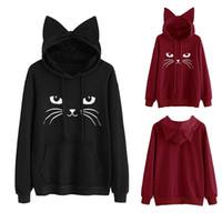 c2fef240470e cat ear hoodies Australia - Womens Cat Ear Solid Long Sleeve Hoodie  Sweatshirt Hooded Pullover Tops