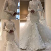 Wholesale leila for sale - Group buy Long Sleeve Mermaid Wedding Dresses Leila Khashagulgova Luxury Beaded D Floral Lace Princess Muslim Bride Wedding Gown
