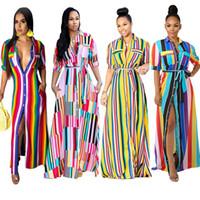 gelbes knopfkleid großhandel-Frauen beiläufige lange hemd kleider sommer regenbogen multi streifen gedruckt revers hals knopf tasche maxi dress blau gelb rosa