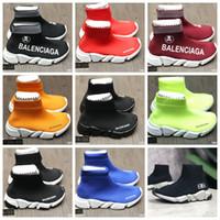 botas vermelhas para bebé venda por atacado-Menina tecido deslizamento na sapata bota cores preto vermelho bebê menino menina esporte running shoes sneakers Eu 24-35 enviar com caixa