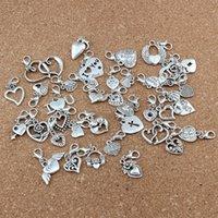 gümüş kalp bilezik kayan toptan satış-117 adet / grup Antik Gümüş Karışık Kalp Yüzer Istakoz Klipsler Charm Boncuk Fit Charm Bilezik DIY Takı 39-Stil A-527b