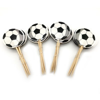 fußball-partei favorisiert großhandel-Jungen begünstigt Fußball Thema Cake Topper Happy Birthday Party Fußball Cupcake Toppers Mit Sticks Schmücken Baby Shower 24pcs / pack