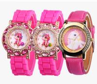 Wholesale glasses watch for children resale online - Lovely Pink Unicorn Children Wrist Watches Diamond Cartoon Leather Strap Kids Quartz Watch For Boy Clocks Relogio Masculino