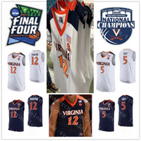 ingrosso ragazzo xxxl-2019 Champions 12 De'Andre Hunter 5 Kyle Guy Jersey NCAA Final Four Mens Blu Navy Bianco Virginia Cavaliers Colleage Basketball Maglie XXXL