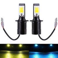 levou lâmpadas carro dupla venda por atacado-2PC LED H3 bulbos Dual Color Auto Faróis de nevoeiro luzes de condução DRL Lâmpada H3 Car Branco azul de gelo amarela