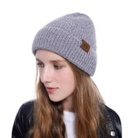 Wholesale mink beanie hat for sale - Group buy MOK Letter Printed Beanie Colors Imitated Mink Wool Beanie Women Winter Warm Caps Knitted Hats LJJO7114