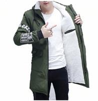chaqueta masculina coreana al por mayor-Cachemira forrada Parkas de piel de los hombres abrigo de invierno chaqueta larga con capucha rompevientos Parkas delgado estilo coreano casual ropa de abrigo masculina