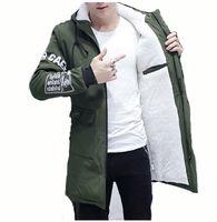 jacke koreanischen stil windjacke großhandel-Kaschmir Gefüttert Parkas Pelz Männer Mantel Winter Lange Jacke Mit Kapuze Windjacke Parkas Dünne Koreanische Art Lässige Männliche Oberbekleidung Kleidung