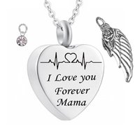 Wholesale mama jewelry resale online - I love you Forever Heart cremation Memorial ashes urn birthstone necklace jewelry Angel wings keepsake pendant for mama