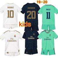 fútbol 22 al por mayor-Equipación de camisetas de fútbol del Real Madrid para niños 2019 2020 Hazard Jovic Bale Benzema Asensio Modric Vinicius JR Ramos Kroos Isco Uniforme de fútbol infantil