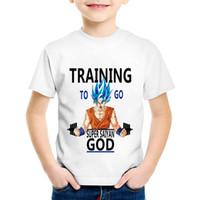 ropa de anime para niños al por mayor-Anime Dragon Ball Imprimir Entrenamiento para ir Super Saiyan Niños camisetas Niños Verano Goku Camisetas Niños / Niñas Tops Ropa de bebé, HKP5099