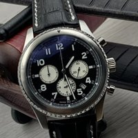 Wholesale watches navitimer for sale - Group buy Flying Dreams Quartz Battery Aviator Eagle Curtiss Contrasting Subdials Mens Watches Navitimer Leather Strap Manful Wristwatches