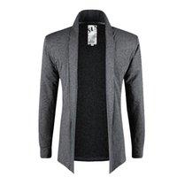 mann capes groihandel-Marke Sommer Herbst Herren Mantel Strickjacke Jacke Umhang Mantel Formen dünne beiläufige männliche Mäntel Pullover einfarbig Sweatshirt 4 Farben