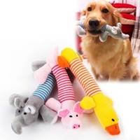 Wholesale cute animals online - Funny Pet Dog Squeak Toys Pet Puppy Chew Squeaker Squeaky Plush Sound Toy Cute Animal Design Toys RRA348