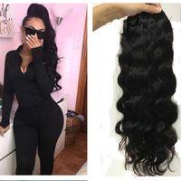 Wholesale human hair drawstring ponytail for sale - Group buy 100g g hot women wavy Ponytail Human Hair Extension Natural black b Brazilian Virgin Hair body wave drawstring Human Hair Pony tails