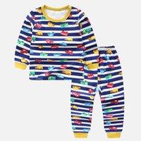 erkek karikatür iç çamaşırı toptan satış-2 adet / takım T-Shirt + Pantolon Erkek Giyim Setleri Bebek Kız Giysileri Karikatür Dinozor Renk Araba Uzun Kollu Bebek pamuklu Iç Çamaşırı