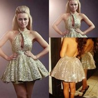 Wholesale shiny dress photos online - Sexy Gold Sequined Prom Dresses Halter Neckline Keyhole Front Backless A Line Shiny Homecoming Dress Evening Wear