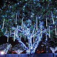 Wholesale out side lights resale online - LED Hollow out Patch Meteor Light Set Colored Tube Tree Lights Decoration Lighting Engineering Double Sided Shining
