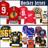 kanat jarse toptan satış-Mario Lemieux erkekler Pittsburgh Penguins Hokey Jersey CCM 9 Bobby Hull Chicago Blackhawks Gordie Howe Detroit Red Wings Formalar