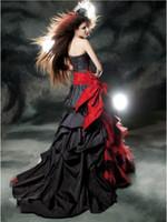 ingrosso lunghezza del taffettà di lunghezza del pavimento-Abiti da sera nero e rosso gotico 2019 Vintage Court Style Sweetheart Ruffle taffettà di lunghezza del pavimento grande arco corsetto sexy abiti da ballo di promenade