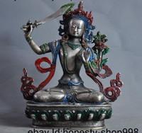 pintando kwan yin al por mayor-Antiguo Budismo plata de Tíbet Pintura estatua Mañjusrí Kwan Yin Bodhisattva Guanyin