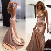 Wholesale train stain resale online - Elegant Sexy Nude Prom Dresses spaghetti Backless Sweep Train Backless Simple Stain Mermaid Occasion Red Carpet Evening Gown