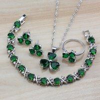 brincos brincos verde venda por atacado-Noble Verde Jóias Zircon Flor Define 925 brincos / colar / pulseira / anel para as mulheres na moda Costume Acessórios