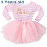 vestidos de rayas rosa niñas al por mayor-Vestido de cumpleaños para niña de 3 años 2019 Vestido de niño de manga larga para bebés Battesimo Pink Princess Vestidos para niña Vestidos de fiesta de bola a rayas XF54