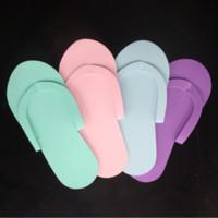 ingrosso pantofole monouso-Pantofole usa e getta 12Pair per pedicure Salon Hotel Foam Flip Flop New 26,5x7,5cm Pantofole da casa Donna Uomo