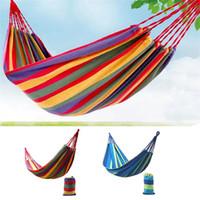 lits suspendus à l'extérieur achat en gros de-280 * 100mm 2 personnes rayé hamac lit de loisirs en plein air épaissie toile suspendu lit dormir hamac balançoire pour le camping de chasse