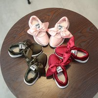 Wholesale girls bow sneakers resale online - Children Silk Big Bow Shoes For Kids Casual colors Sneakers fashion Autumn Winter Baby Girls sports shoes C6391