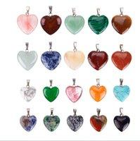 sortierte anhänger anhänger großhandel-Viele Gemischte 20 stücke Verschiedene Naturstein Liebe Herz Silber Überzogene Perlen Anhänger Charme für Halskette Schmuck Machen