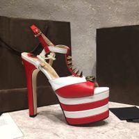 Wholesale shoes 16 cm resale online - 2019 cm High Heel gladiator sandals women spiked rivets skull studded peep toe platform summer brand T show shoes for women salto alto