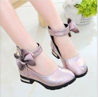 topuk ayakkabıları kız çocukları toptan satış-Yeni en çok satan marka kızların yüksek topuklu ayakkabılar sonbahar küçük prenses deri ayakkabı yumuşak taban çocukların tek çocuk # ilmek