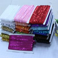 accessoires pour robe à paillettes achat en gros de-25 Mètre Sequin Paillette Africain Dentelle Matériel Ruban Garniture Coudre Robe Vêtements Rideau Accessoires Bricolage Or Argent 1.2 CM
