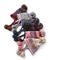 protetor de bolas venda por atacado-Mulheres Pompon Malha Chapéu Moda Lady Fur Bola Protetor de Ouvido Gorros Chapéu Ao Ar Livre Inverno Quente Tricô De Malha TTA1517