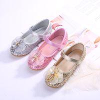 Wholesale children green princess shoes resale online - 2019 New Princess Girls Shoes For Kids Glitter bowtie low Heel Children Shoes Girls Party Dancing Shoes