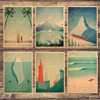 Wholesale new paint wall resale online - California New Zealand ZermaCanvas Painting Vintage Wall Pictures Kraft Posters Coated Wall Stickers Home Decoration Kid Gift