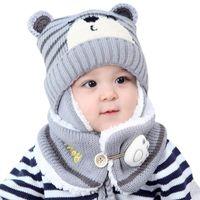 Wholesale baby earmuffs hat resale online - Unisex Kids Cartoon Bear Stripe Hats And Scarf Baby Cap Set Girl Boy Cap Scarf Set Child Winter Earmuffs Hat Warm Suit