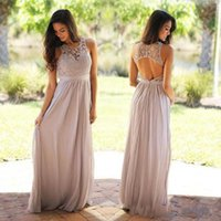 Wholesale empire style wedding dress chiffon resale online - 2020 Cheap Lace chiffon Bridesmaid Dresses Country Style Beach Wedding Party Guest Dresses Maid of Honor Dress Cheap Backless Long