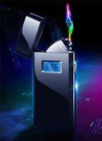encendedor seco al por mayor-Arco doble Arco doble del alumbrador del USB a prueba de viento metal encendedores de cigarrillos con encendedores de tuberías caja de regalo de hierbas secas para pipa de vidrio