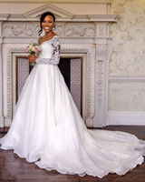 Wholesale rustic natural wedding dresses online - 2019 New Long Sleeve A Line Wedding Dresses V Neck Sweep Train Tulle Chic Rustic Wedding Dresses Bridal Gown Custom Made