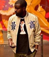 uni-jacken mäntel großhandel-19FW Luxus amerikanische Box Logo Pinstripe Varsity windundurchlässige chinesische Worte Stickerei Jacke Straße Skateboard warmer Mantel