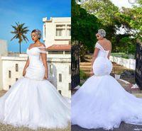 robes de mariée une sangle achat en gros de-Robes de mariée africains plus taille pure sangle une épaule sirène robes de mariée style campagnard Robe de mariee cristaux perlés robes de trompette