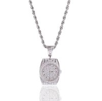 Wholesale pave diamond white gold for sale - Mens Iced Out Quartz Watch Dial Pendant Necklace Micro Pave Cubic Zirconia Diamonds with inch Rope chain
