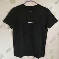 лучшие брендовые мужские рубашки оптовых-Лучшая версия модельер мужской бренд летняя одежда футболка париж письмо сломанной принт футболка повседневная хлопок футболка топ футболка