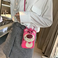 Wholesale gift bag extra for sale - Group buy Lovely2019 Soft Popularity Sister Strawberry Bear Cute Girl Heart Fluffy Doll Oblique Satchel Mobile Phone Touch Screen Package Gift