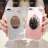 accesorios del teléfono celular del rhinestone al por mayor-Accesorios de la caja del teléfono celular de moda adecuados para iPhone xr Glitter espejo del teléfono del rhinestone accesorios transparentes