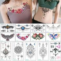 tatouage à la taille achat en gros de-24x13.8cm BC Poitrine tatouage temporaire autocollant taille arrière sein Skeleton Conception de bijoux collier pour femmes Mode Tatouages Body Art étanche